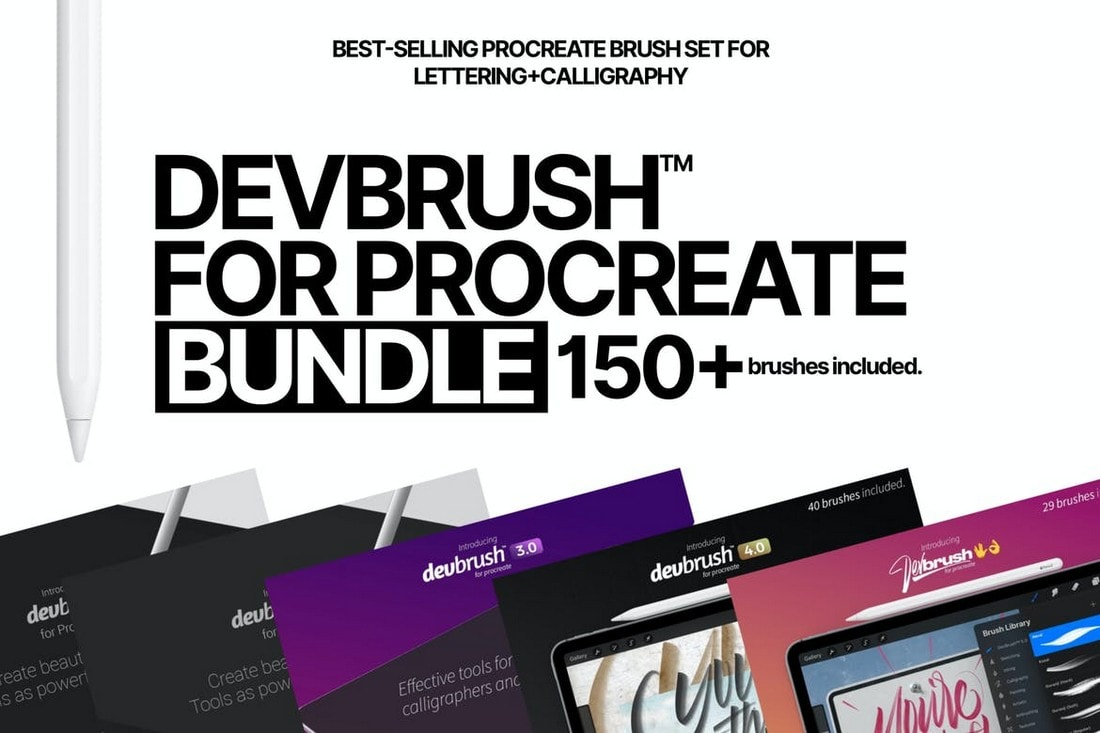 DEVBRUSH-Lettering-Calligraphy-Procreate-Brushes 30+ Best Procreate Brushes 2020 (Free & Pro) design tips