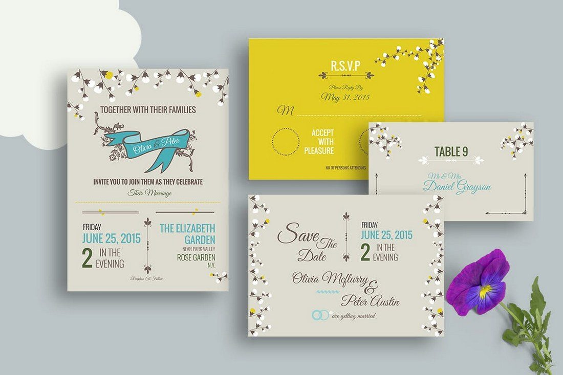 50 wonderful wedding invitation card design samples design shack this wedding invitation template set also includes rsvp card templates save the date escort cards and more as well stopboris Choice Image