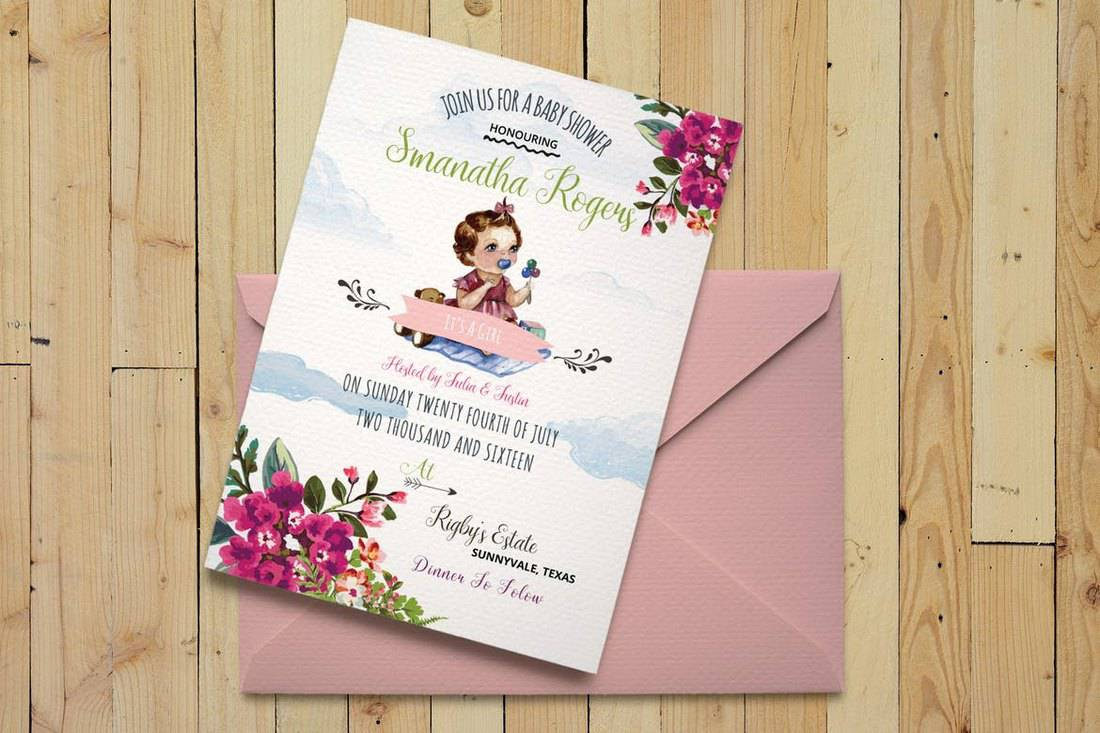 DIY Watercolor Baby Shower Invitation