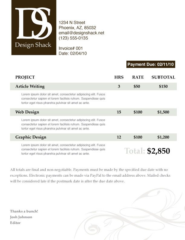 creating a well designed invoice: step-by-step | design shack, Invoice examples