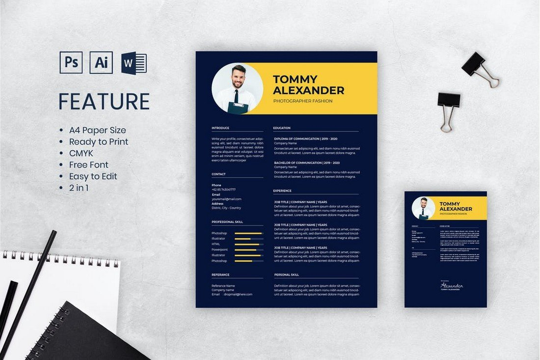 Dark Background CV Resume Template
