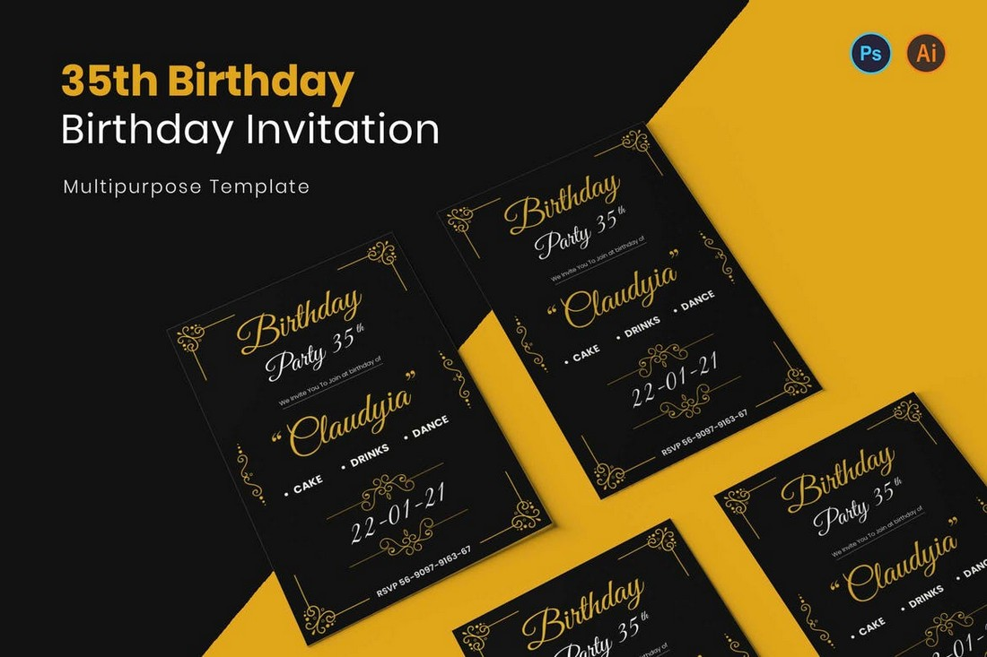 Dark Birthday Party Invitation Flyer Template