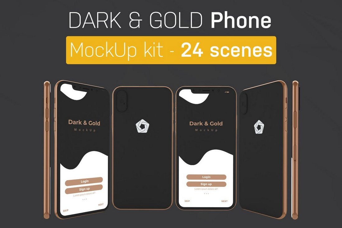 Dark & Gold iPhone Mockups Kit