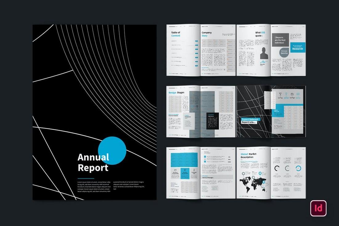Dark InDesign Annual Report Template