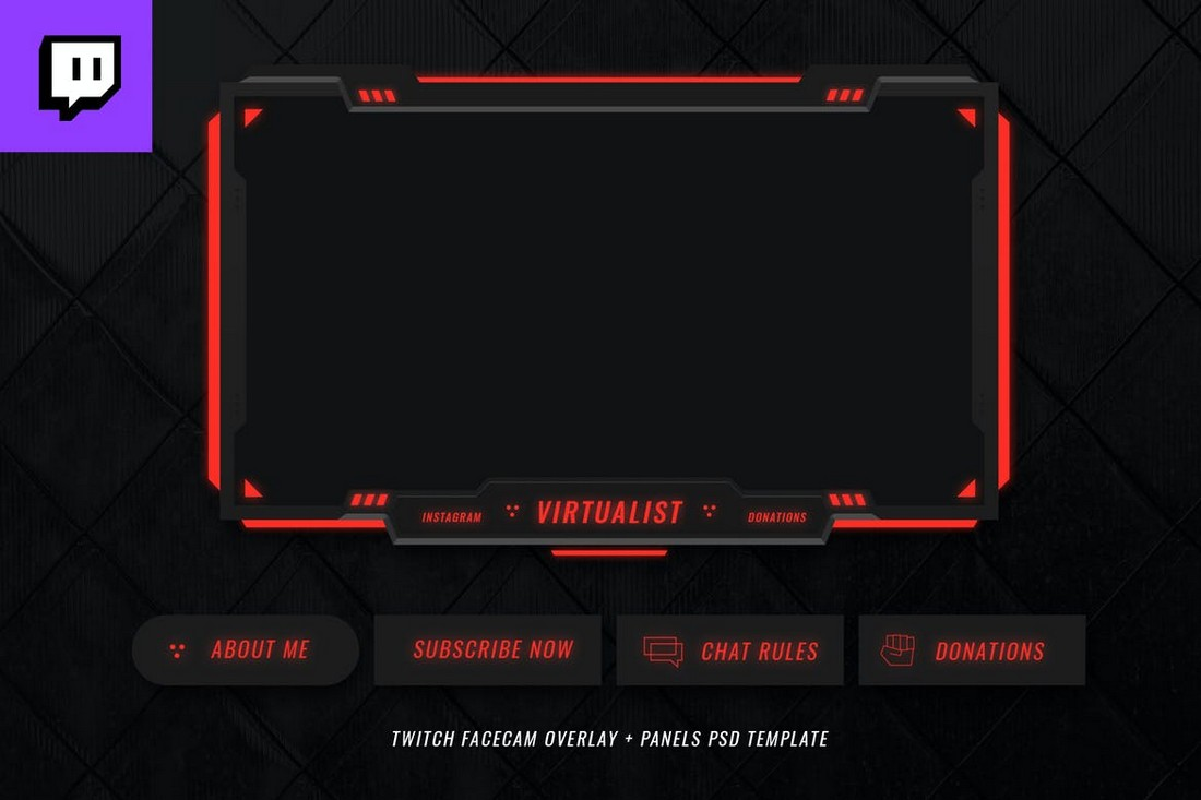 Dark Twitch Overlay Template for Gamers