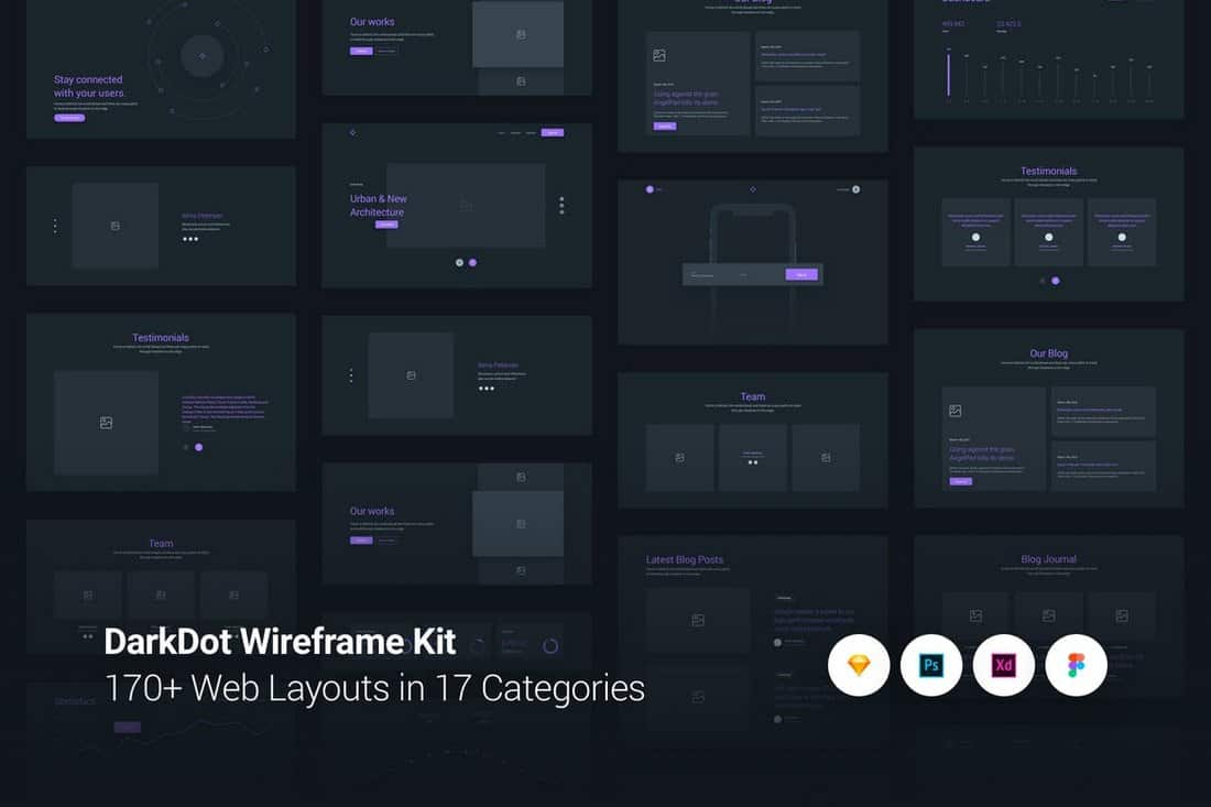 DarkDot - Wireframe UI Kit Sketch Template