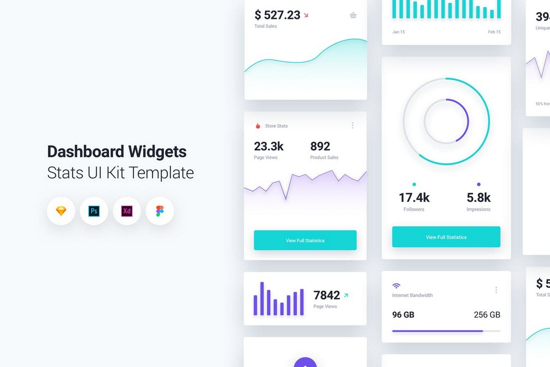 Dashboard-Widgets-UI-Kit-Sketch-Template 30+ Best Sketch Templates of 2019 design tips