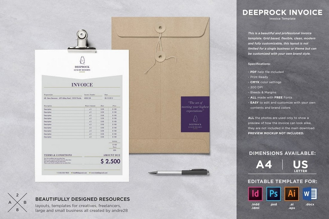 Deeprock-Simple-Invoice-Template-For-Illustrator 20+ Best Invoice Templates for InDesign & Illustrator (Free + Premium) design tips