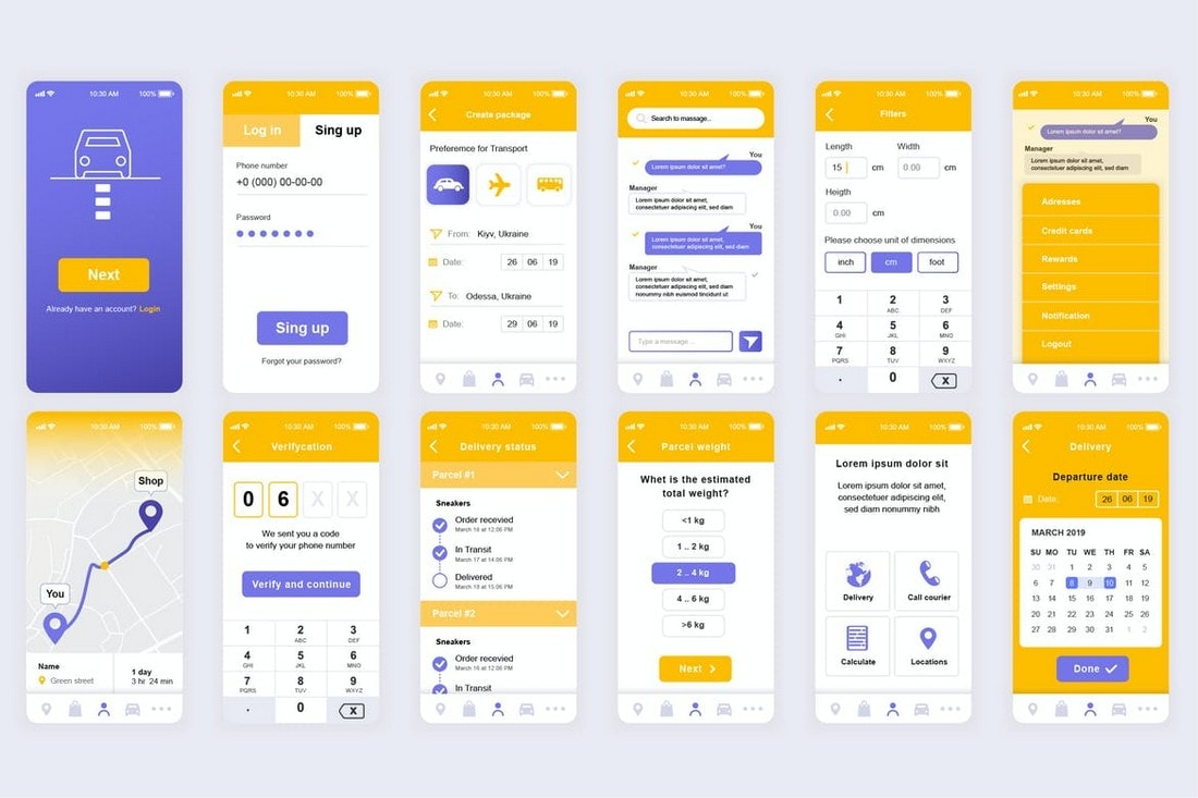 Delivery-Mobile-App-UI-Templates-Kit 25+ Best Mobile App UI Design Examples + Templates design tips  Inspiration