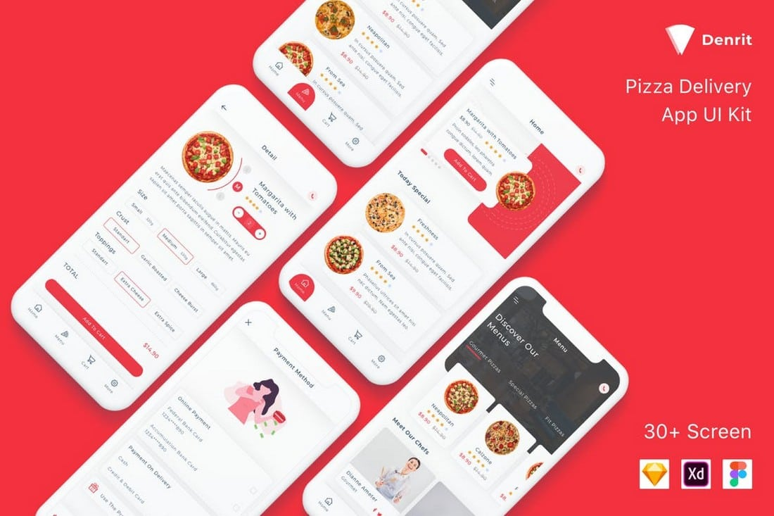 Denrit-Pizza-Delivery-App-UI-Templates 25+ Best Mobile App UI Design Examples + Templates design tips  Inspiration