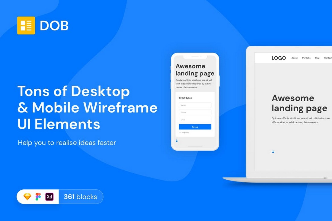 Desktop & Mobile Wireframe Web UI Kit for Sketch