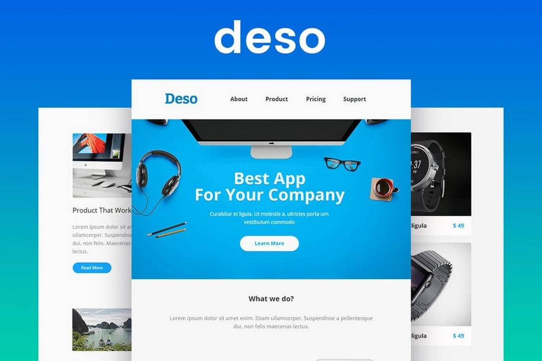Deso-Responsive-Email-Newsletter-Template 20+ Best MailChimp Email Newsletter Templates (Free + Premium) 2021 design tips