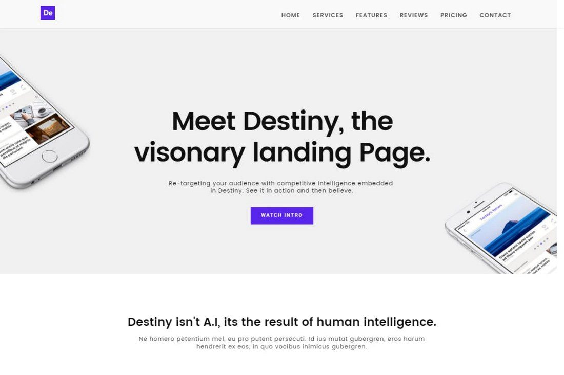 Destiny-Landing-Page-Template 50+ Best App Landing Page Templates 2021 design tips