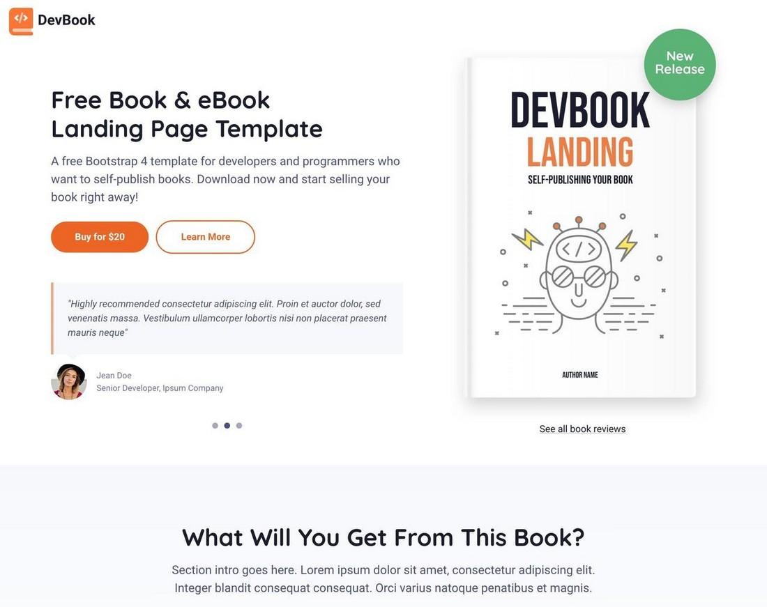 DevBook - Free Modern Landing Page Template