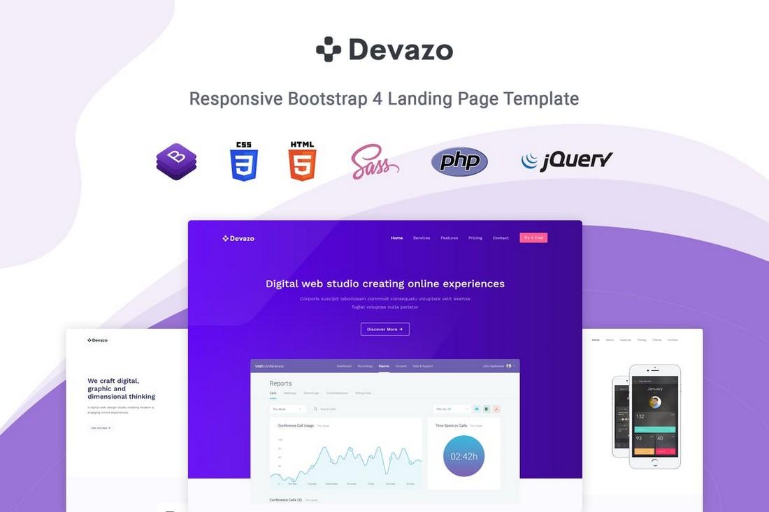 Devazo-SaaS-Landing-Page-Template 50+ Best App Landing Page Templates 2021 design tips
