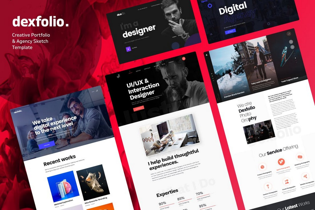 Dexfolio - Creative Portfolio Website Sketch Template