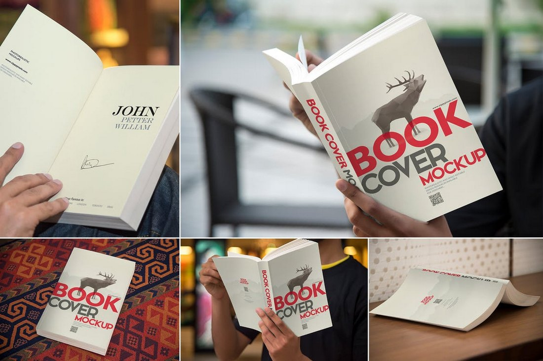 Digest Size Book Cover Mockup Templates