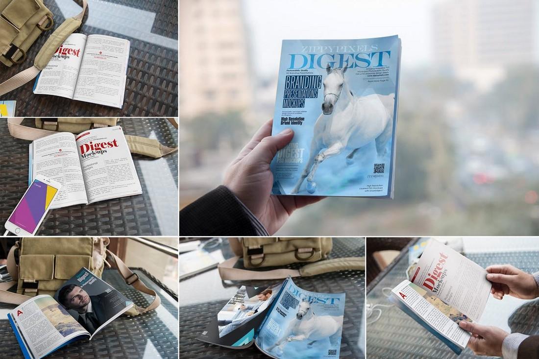 Digest Size Magazine Mockups