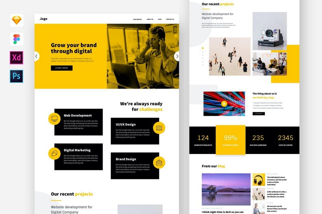 Digital Agency Website Template for Sketch