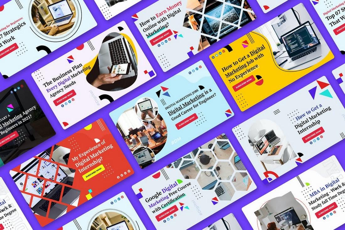 Digital Marketing YouTube Thumbnail Templates