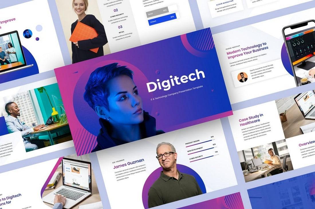 Digitech-IT-Technology-Company-Profile-Template 40+ Best Company Profile Templates (Word + PowerPoint) design tips