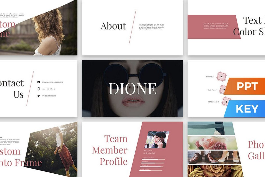 Dione-Modern-PowerPoint-Presentation-Template 20+ Simple PowerPoint Templates (With Clutter-Free Design) design tips
