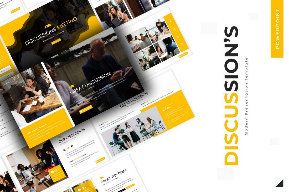 Discussions-Meeting-Powerpoint-Template 20+ Best Webinar PowerPoint Templates (Remote Presentation PPT Slides) design tips