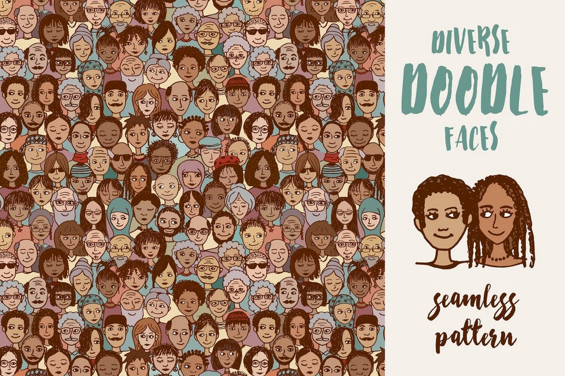 Diverse Doodle Faces - Seamless Pattern