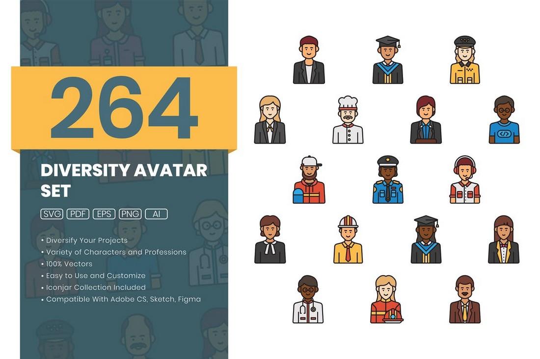 Diversity Avatar Adobe XD Icons Set