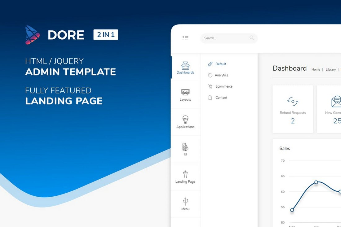 Dore-Html-jQuery-Bootstrap-Admin-Template 40+ Best Bootstrap Admin Templates of 2019 design tips