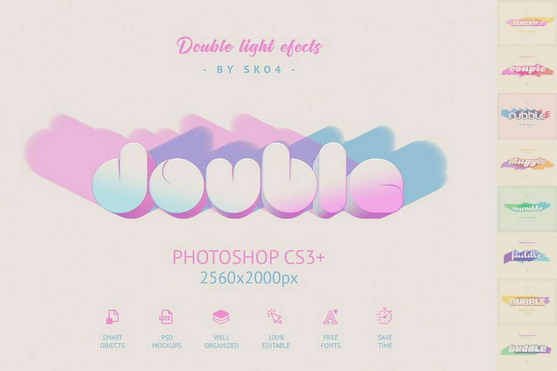 Double Light Text Effects PSD Layer Styles