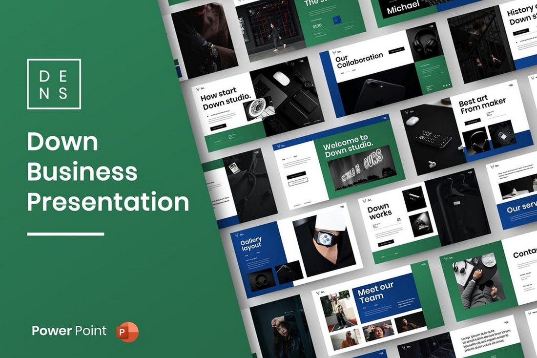 Down – Business PowerPoint Template