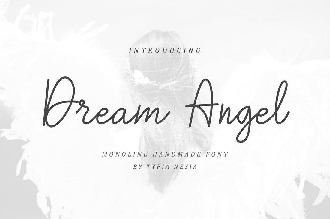 Dream Angle - handmade Monoline font
