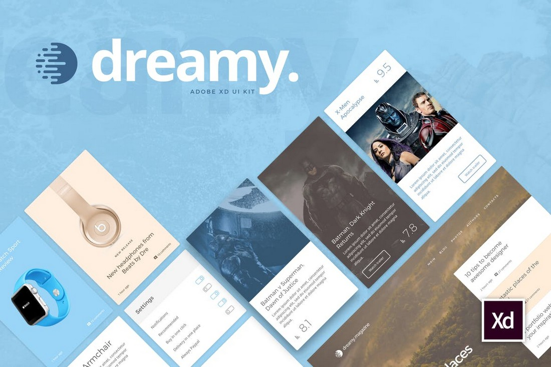 Dreamy - UI Kit for Adobe XD