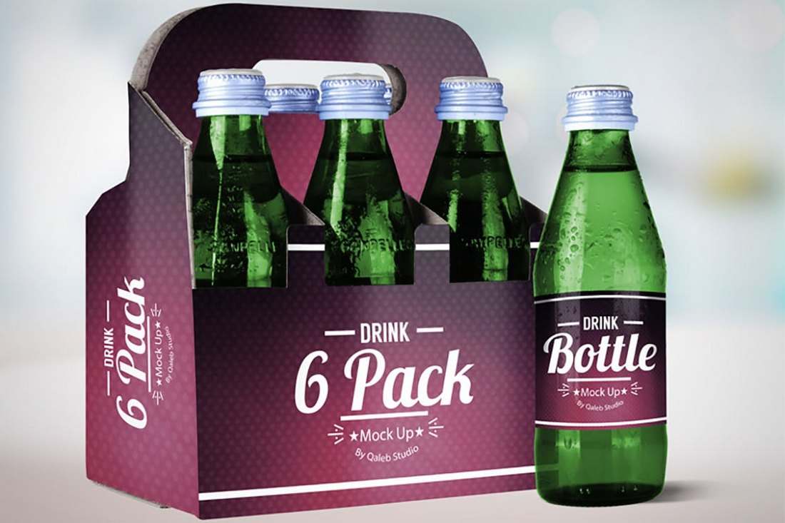 Drink Bottle & 6 Pack Mockup V.2
