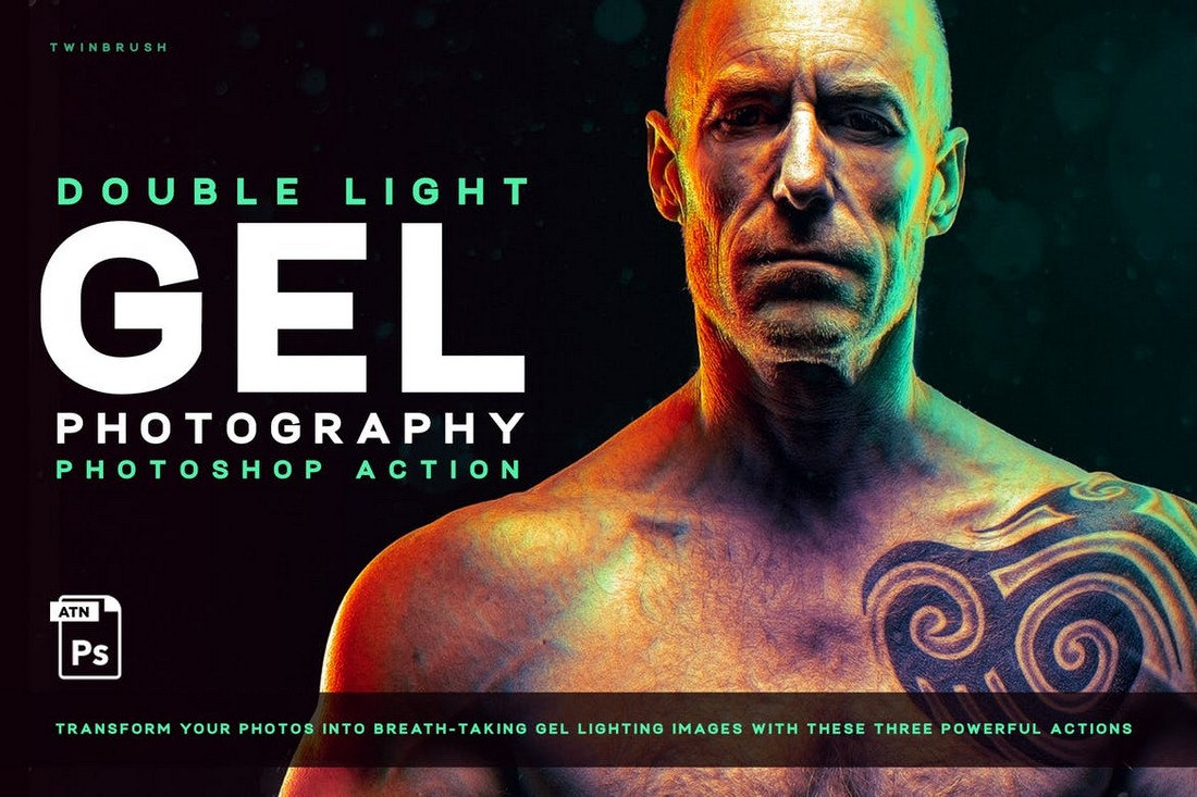 Dual lighting (Gel) Effect Photoshop Action