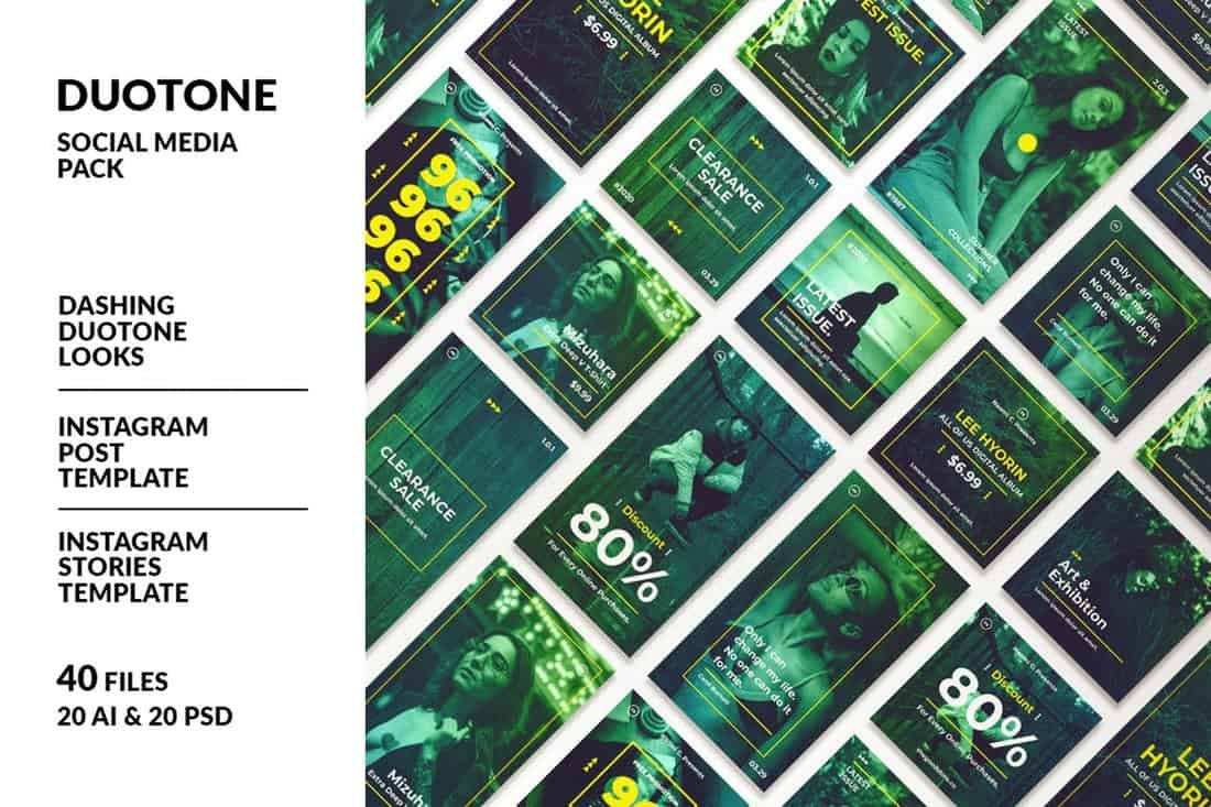 Duotone Instagram Post & Story Templates