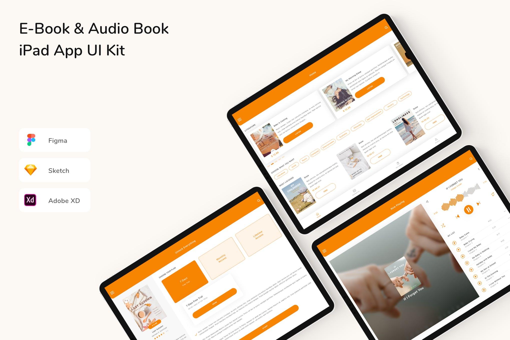E-Book & Audio Book iPad App UI Kit