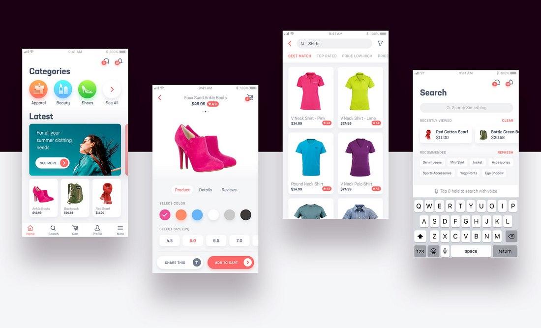 E-Comm - Free UI Kit for Adobe XD
