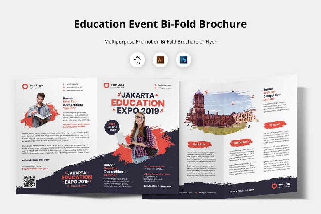 Education Event Bi-Fold Brochure Template