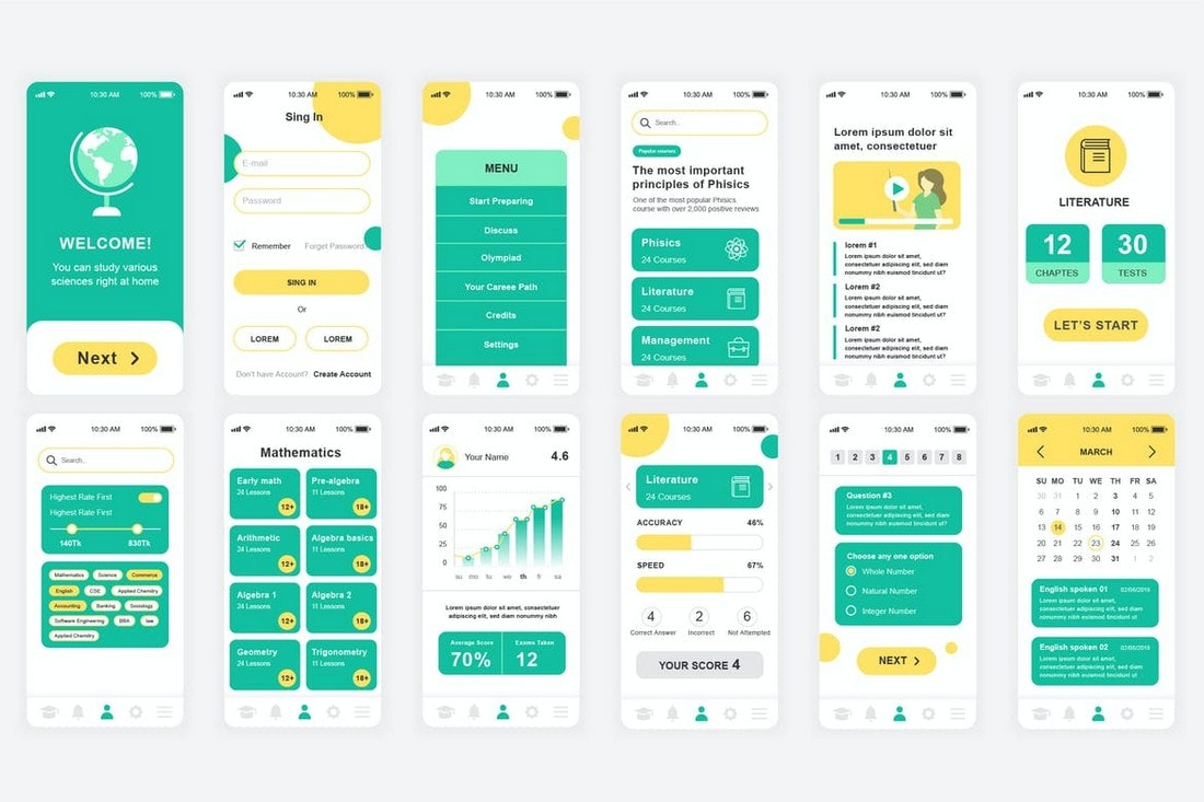 Education-Mobile-App-UI-Screens-Templates 25+ Best Mobile App UI Design Examples + Templates design tips  Inspiration