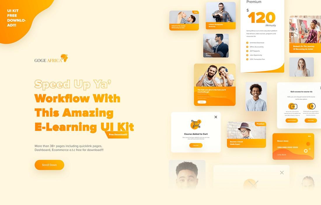 Elearning UI Kit - Free Figma Template