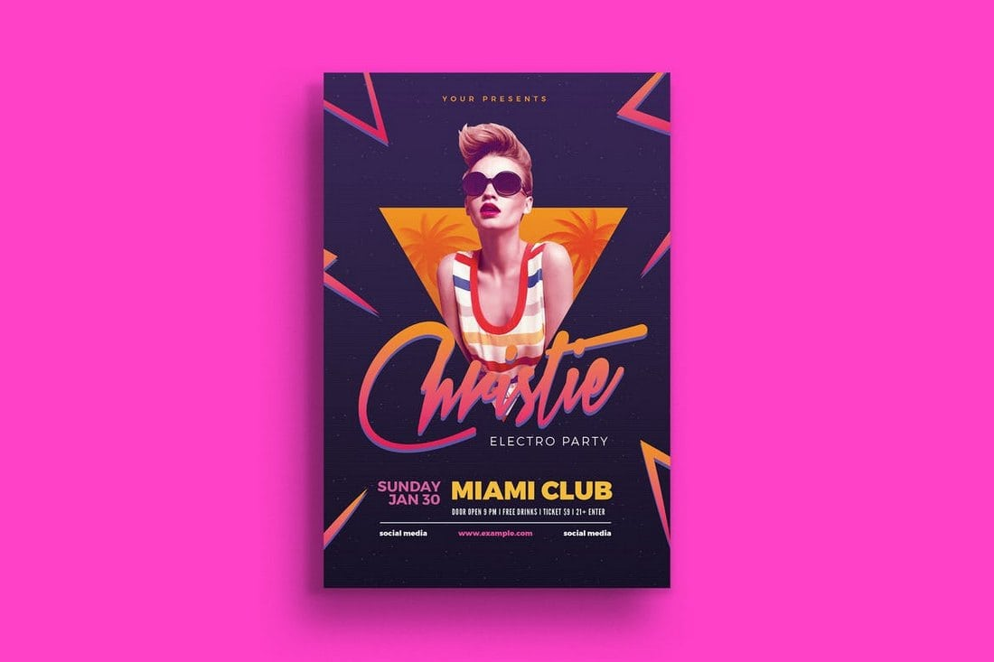 Electro-80s-DJ-Party-Flyer 30+ Best Event Flyer Templates design tips