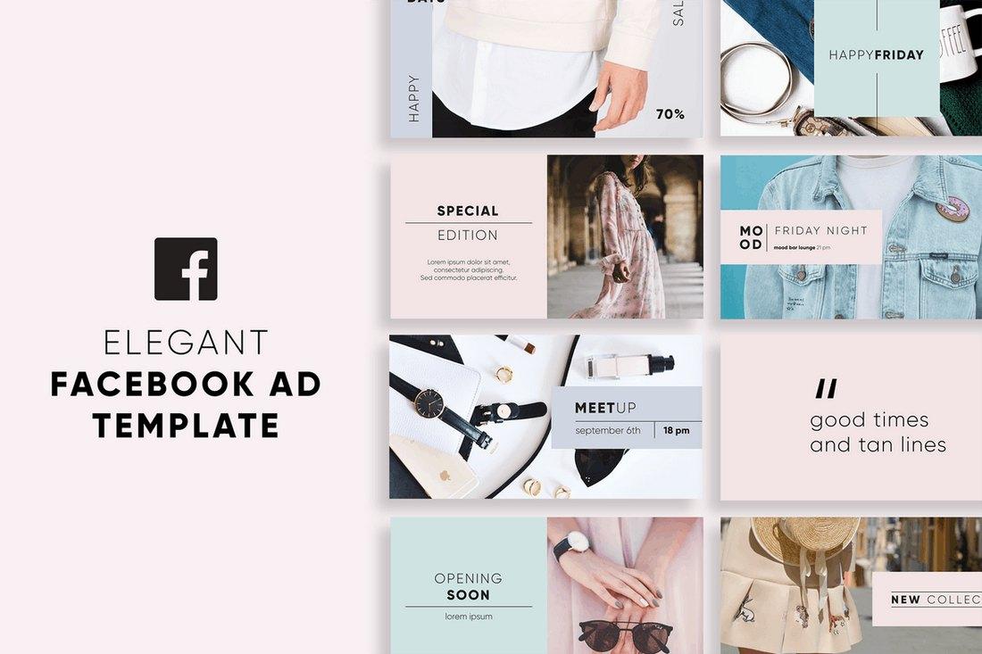 Elegant-Facebook-Ad-Templates 20+ Best Facebook Cover & Post Mockups design tips