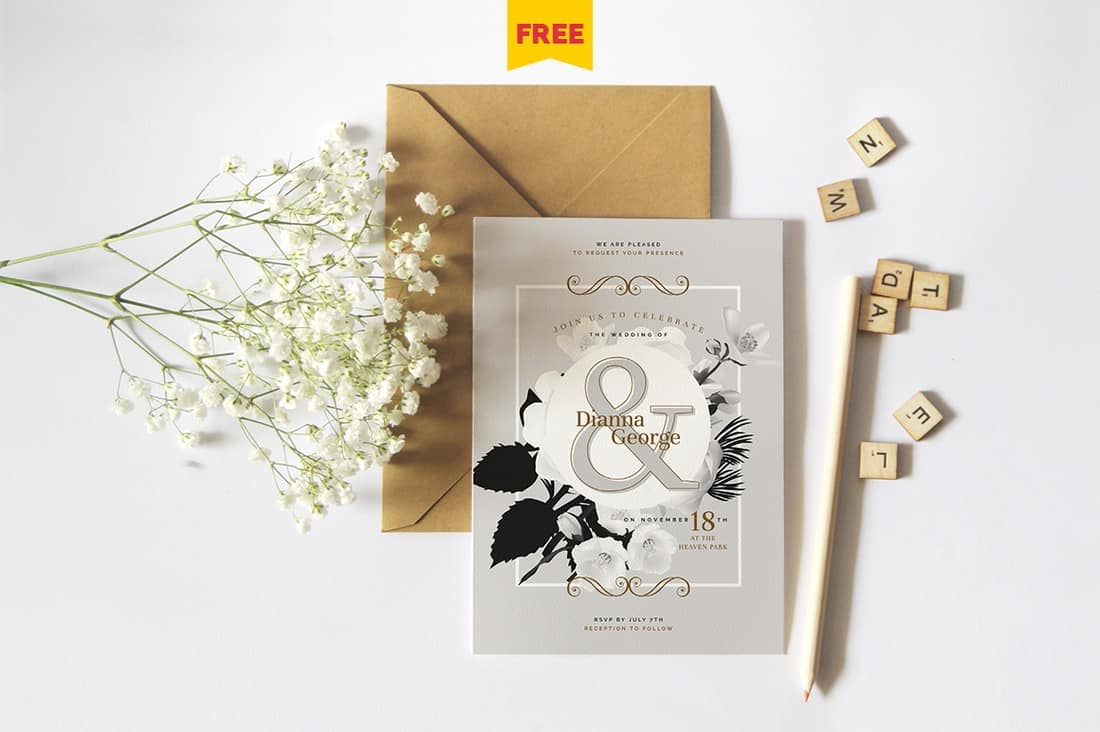 Elegant Free Wedding Invitation Template