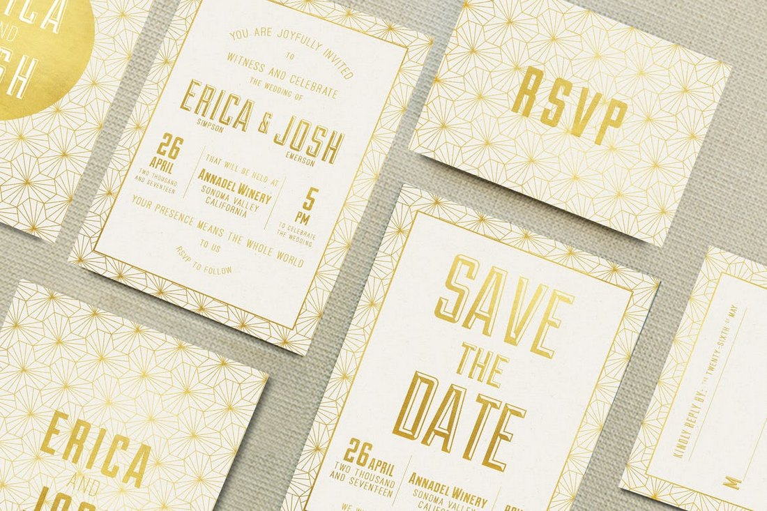 Elegant-Geometric-Wedding-Invitations-Templates 15+ Gorgeous Save the Date Wedding Templates design tips