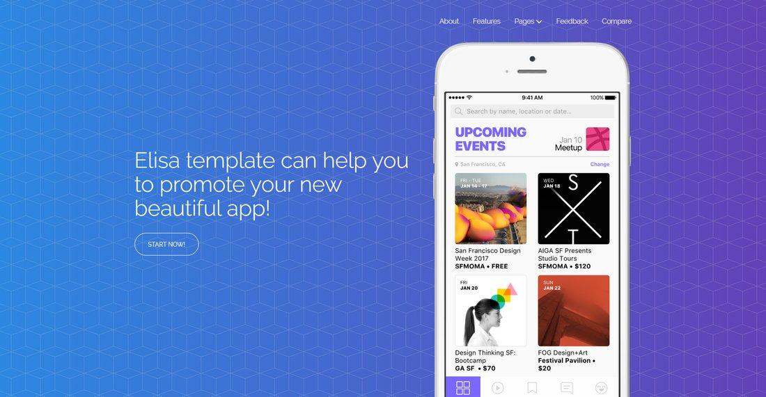 Elisa - Free Modern Landing Page Template