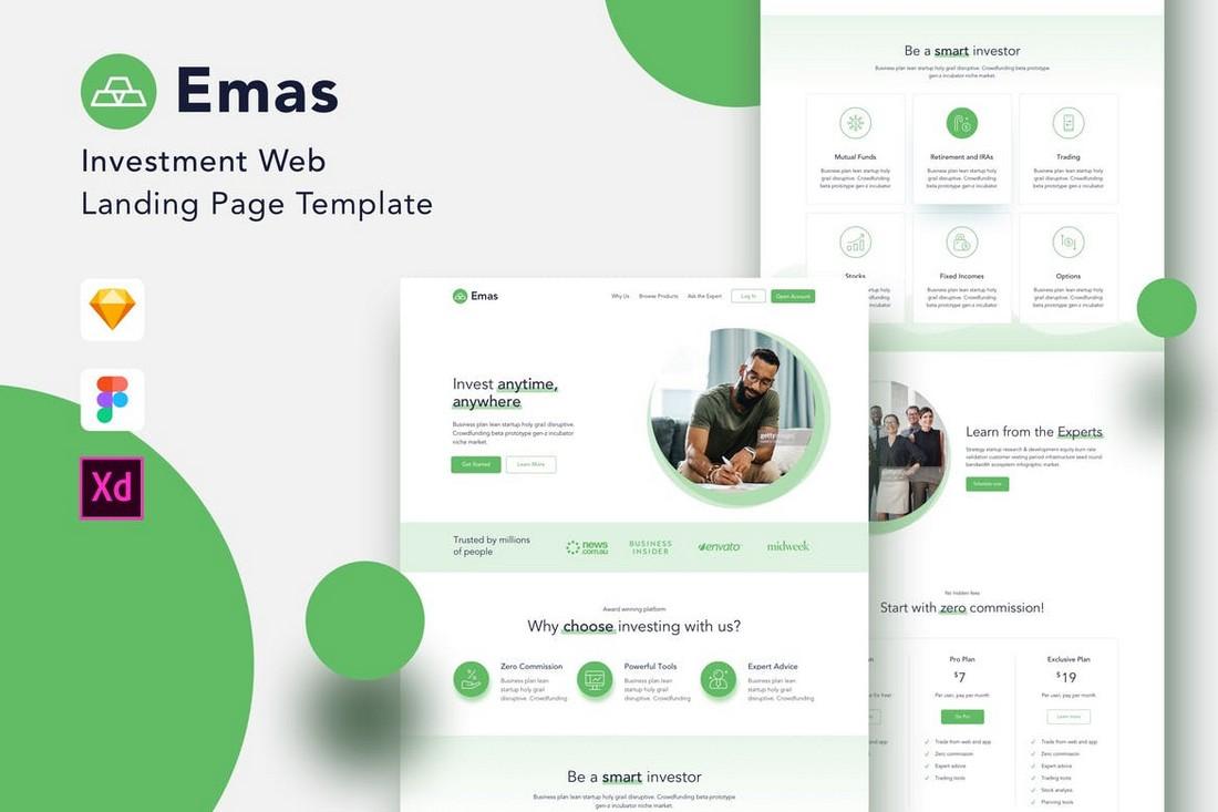 Emas - Investment Website Adobe XD Template