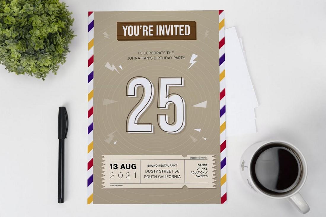 Envelope Birthday Party Invitation Template
