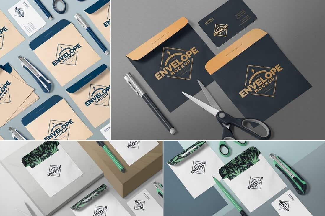 Envelopes - Isometric Mockup Templates